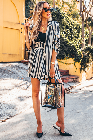 Striped Blazer Skirt Set