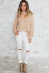 No Return Cutout Sweater - Nude - Haute & Rebellious