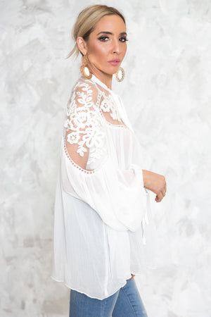 Puff Sleeve Embroidery Blouse - Haute & Rebellious