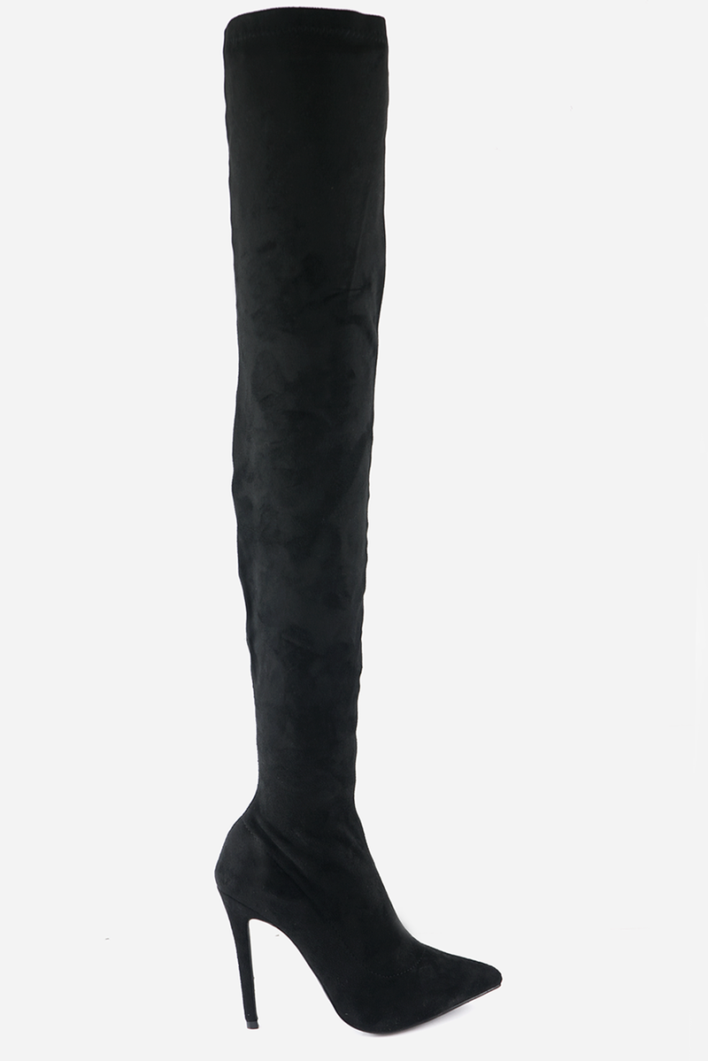Thigh High Suede Boots - Black