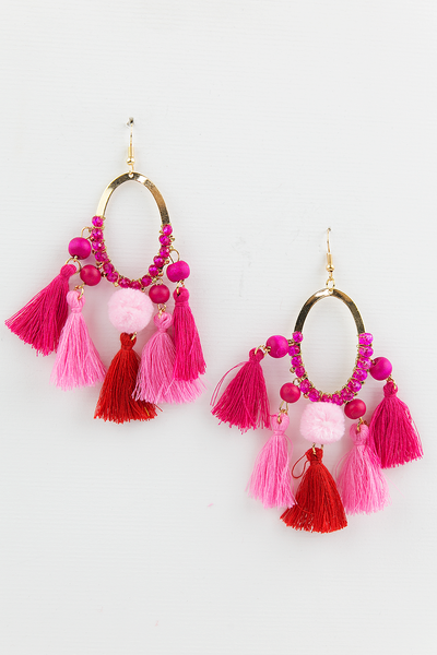 See You Fringe Earrings - Pink