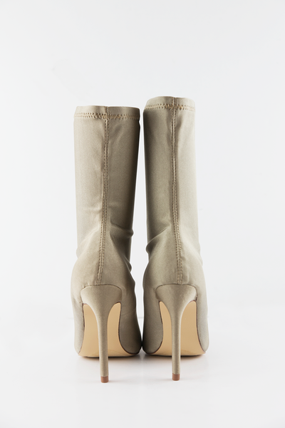 Pointy Sock Boots - Nude