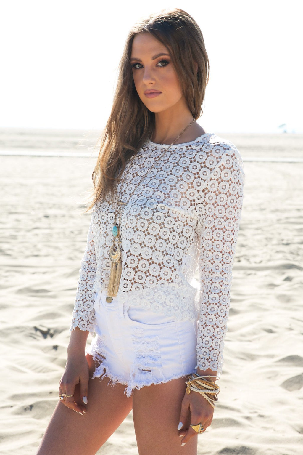 All Over Crochet Top - White - Haute & Rebellious