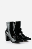 Faux Patent Chunky Heel Boot