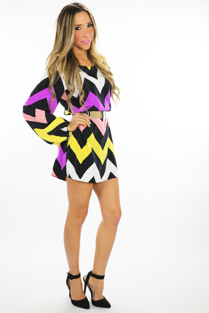 MULTI COLOR CHEVRON PRINT MAXI - Multi