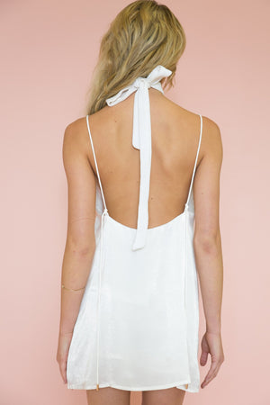 Emma Satin Slip Dress - White (old) - Haute & Rebellious