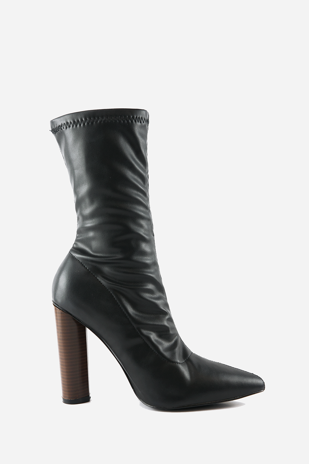 Patent Pointy Sock Boots - Black