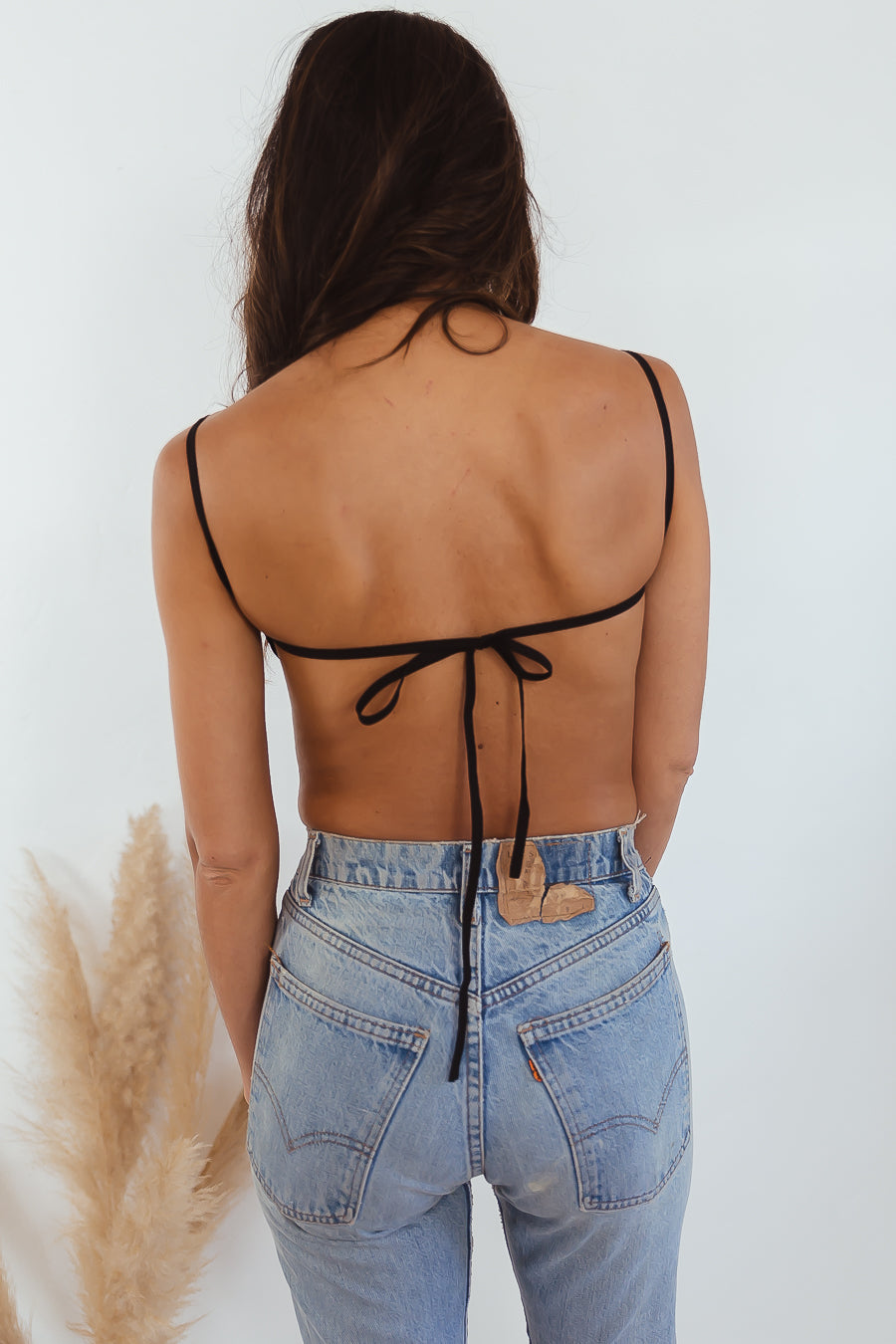 Heartless Open Back Crop Top - Black