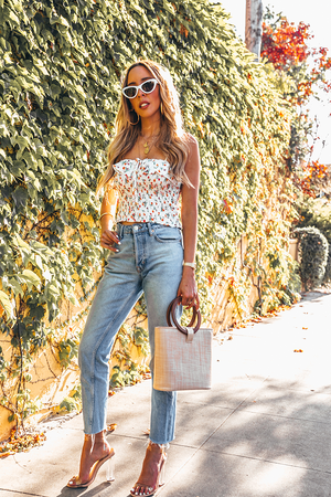 Floral Top with Ruffle