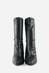 Leather Pointy Sock Boots - Black