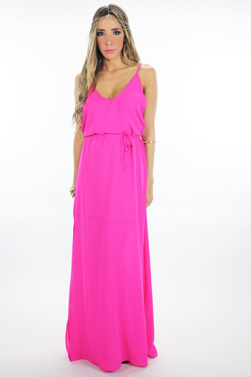 LONG CHIFFON MAXI - Hot Pink - Haute & Rebellious