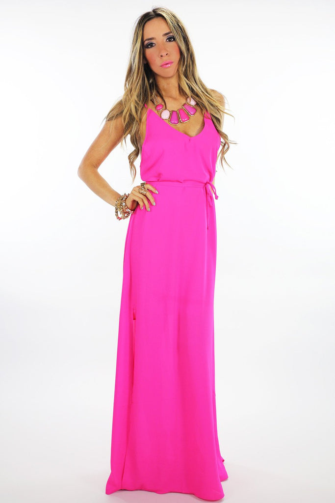 LONG CHIFFON MAXI - Hot Pink