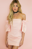 Lana Off-Shoulder Ruffle Sleeve Dress - Blush