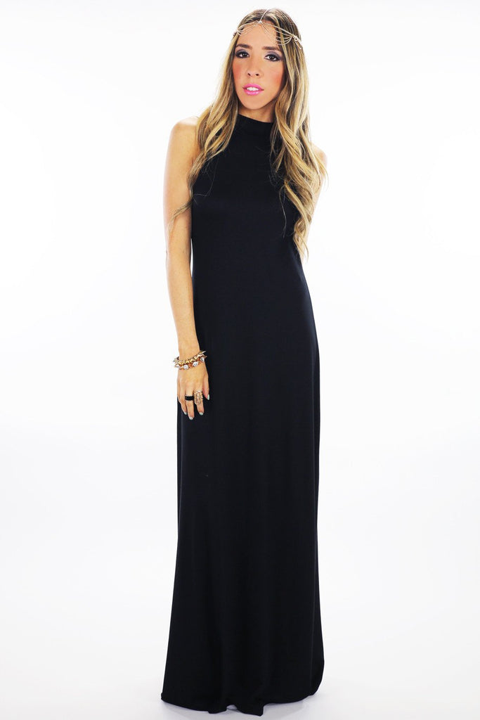 HIGH NECK JERSEY MAXI DRESS - Black