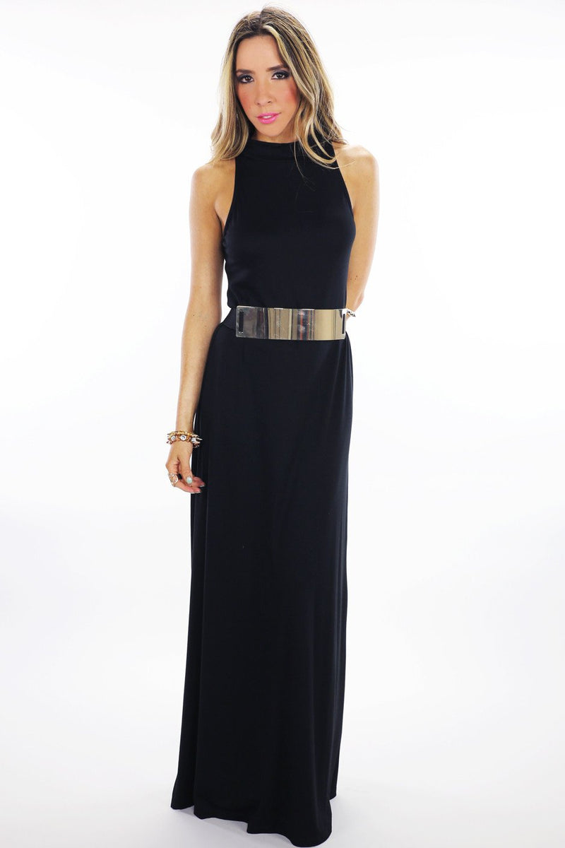 HIGH NECK JERSEY MAXI DRESS - Black - Haute & Rebellious