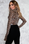 Leopard Bodysuit with Ruffle Sleeves