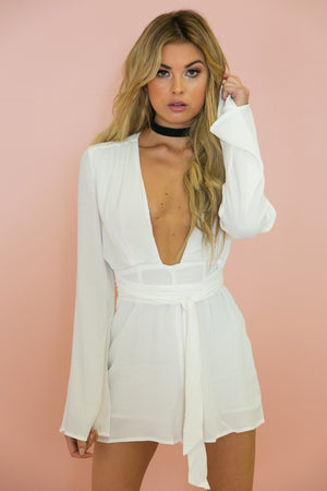 All I See Plunging Tie Romper - White /// Only 1-S Left /// - Haute & Rebellious