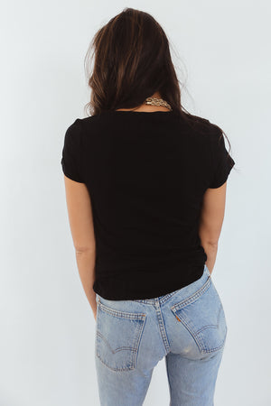 Crew Neck Stretch Basic Tee - Black