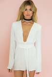 All I See Plunging Tie Romper - White