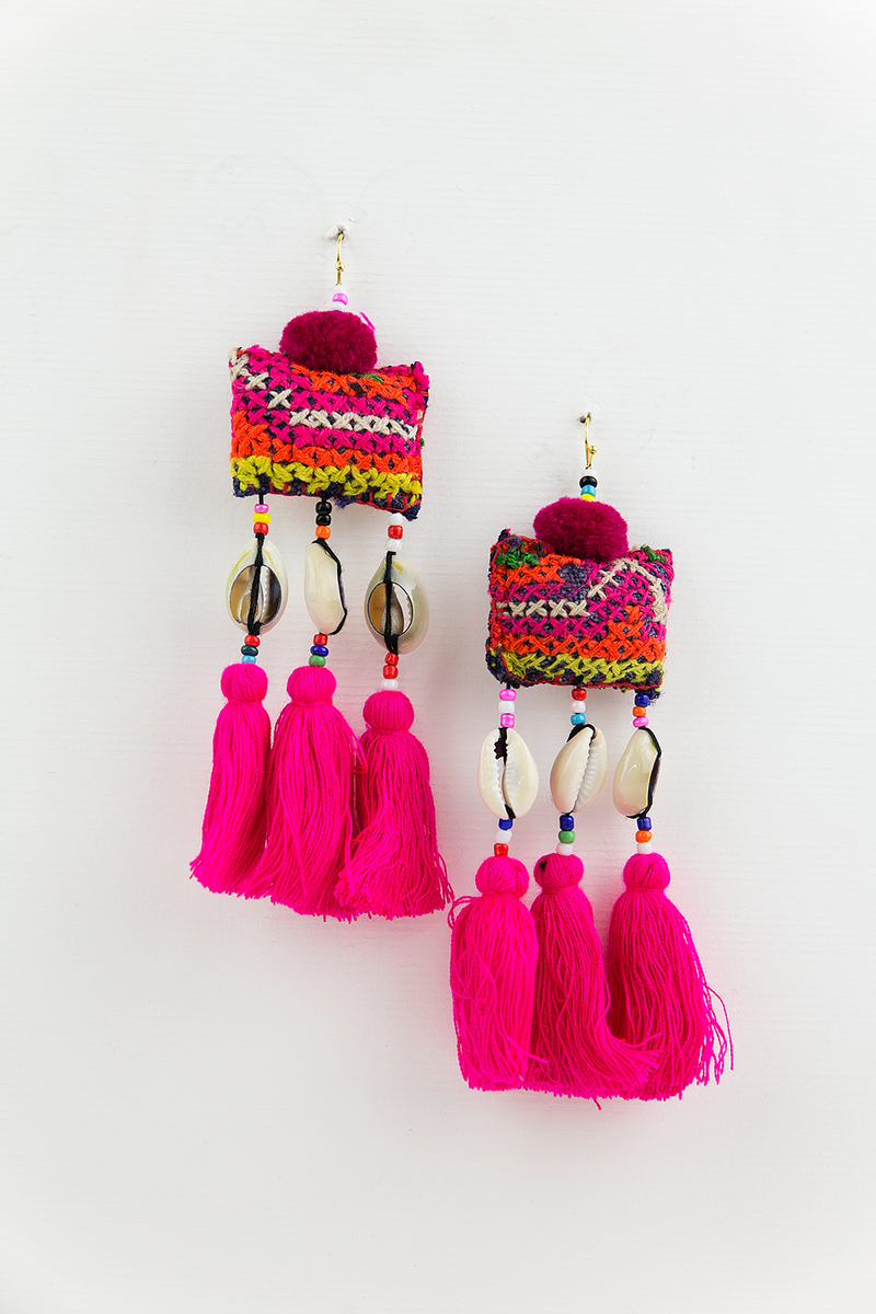 Indian Pouch Fringe Earrings - Haute & Rebellious