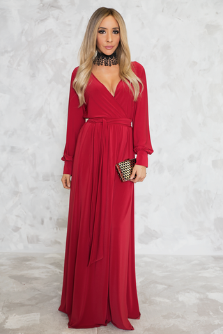 Knot Satin Slit Dress