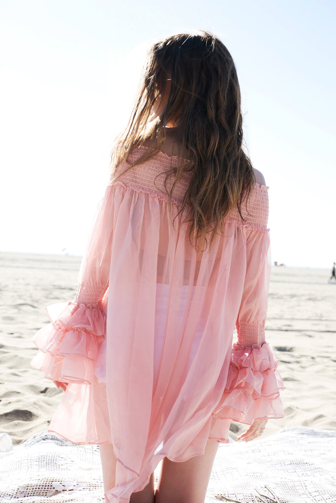 Ruffle Sleeve Dress - Blush