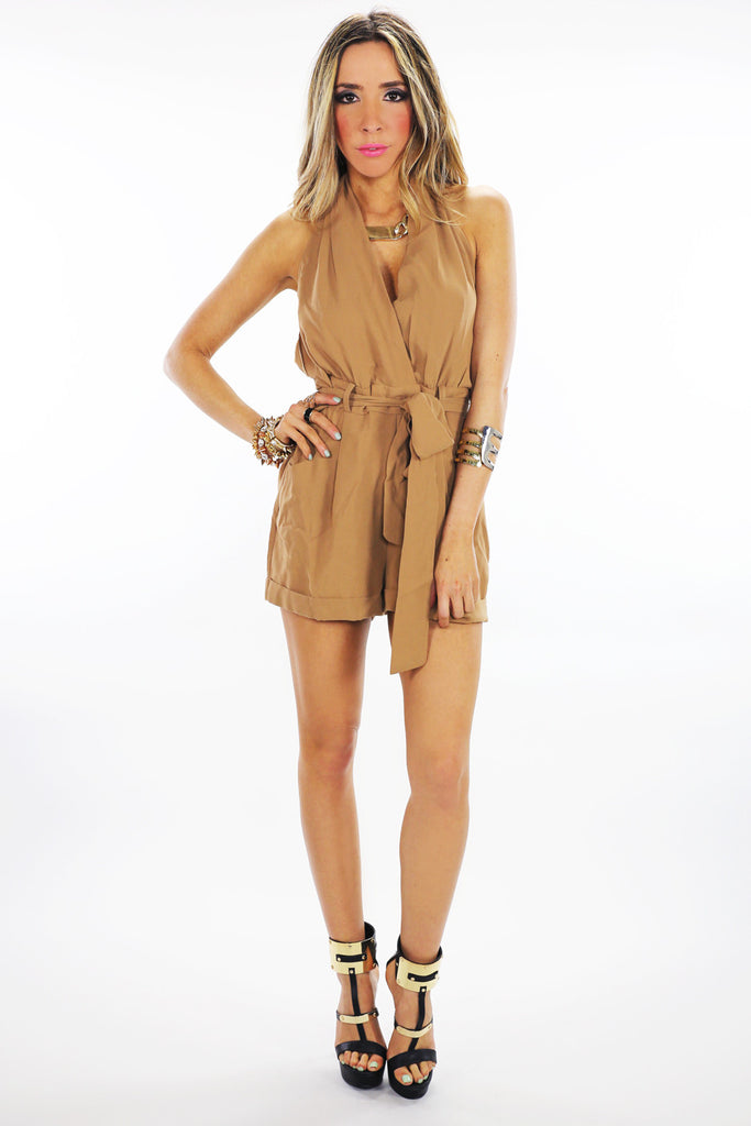 OPEN BACK BOW TIE ROMPER - Camel