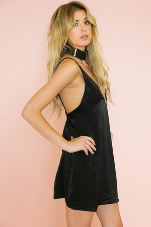 Satin Slip Cami Dress - Black