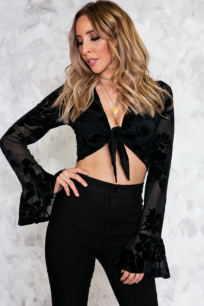 Wrap Velvet Crop Top