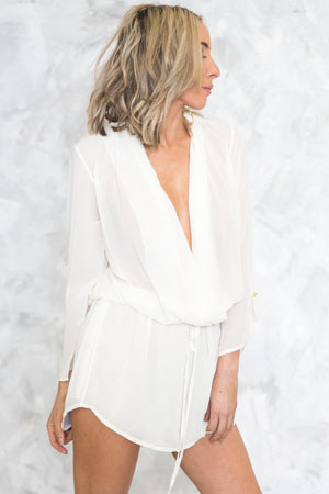 Plunging-V Cinch-Waist Dress - Off White - Haute & Rebellious