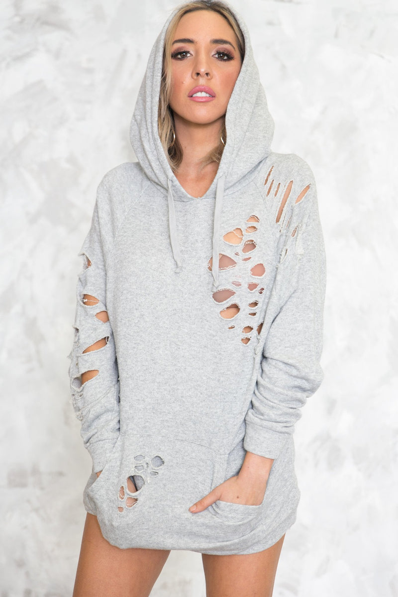 Distressed Hoodie Sweater - Haute & Rebellious