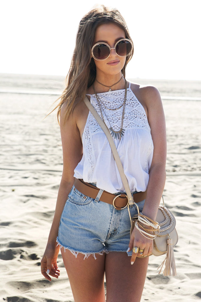 Karina Crochet Flowy Top - White
