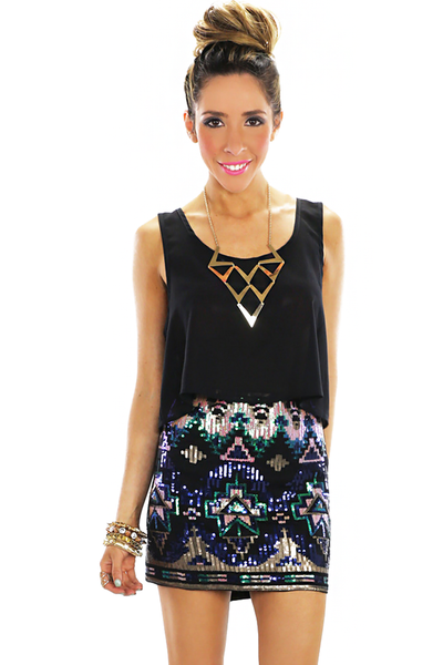 ANYA TRIBAL SEQUIN SKIRT - Black