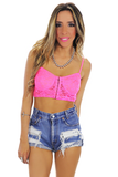 LACE BRALETTE - Neon Pink