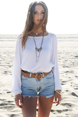 Just The Way I Lace-Up Shorts - White