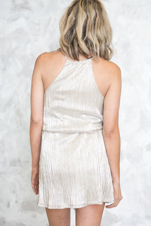Sheen Goddess Metallic Tie Halter Dress /// ONLY 1-S LEFT/// - Haute & Rebellious