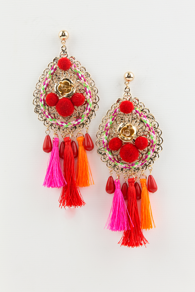 Something Good Tassel Earring - Red - Haute & Rebellious