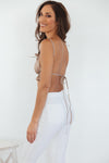 Heartless Open Back Crop Top - Taupe