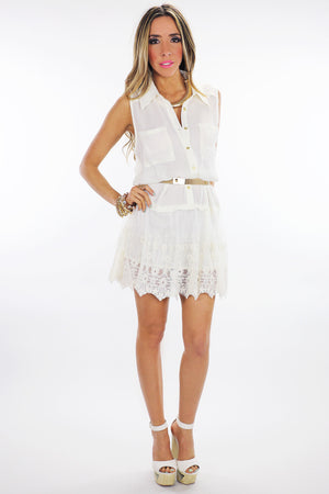 SAGE LACE CONTRAST BUTTON-UP DRESS - Haute & Rebellious