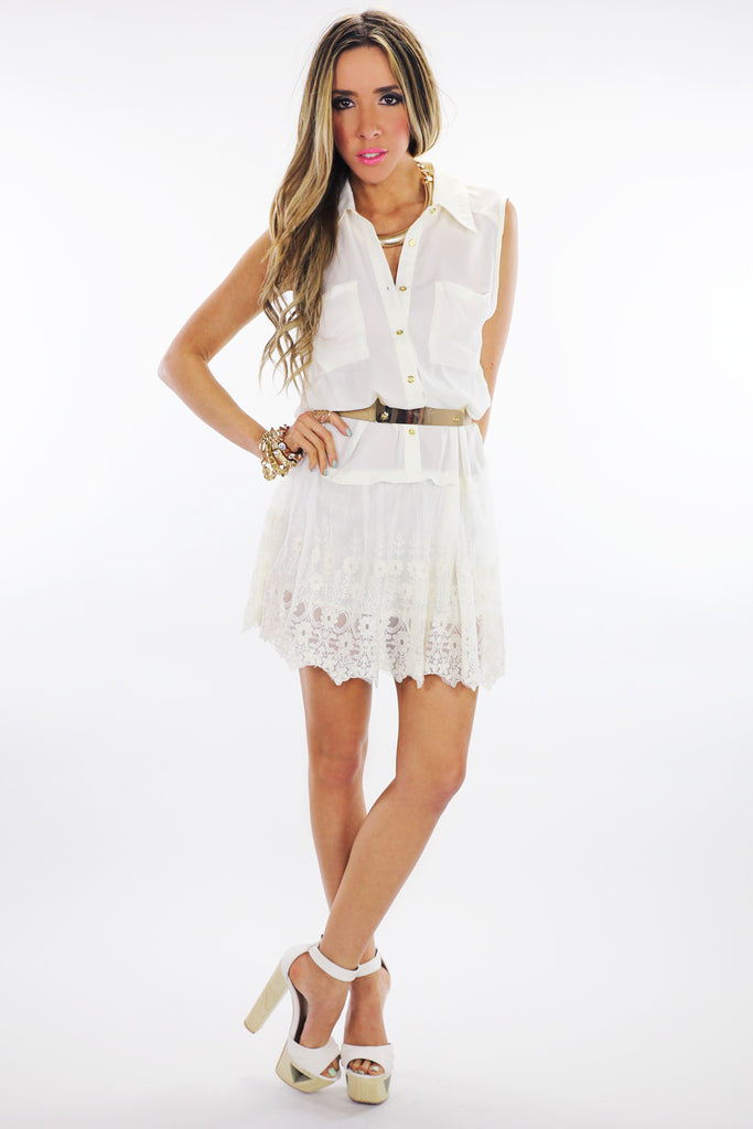 SAGE LACE CONTRAST BUTTON-UP DRESS
