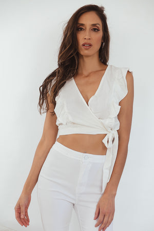 Wrap-Tie Sleeveless Crop Top with Ruffle