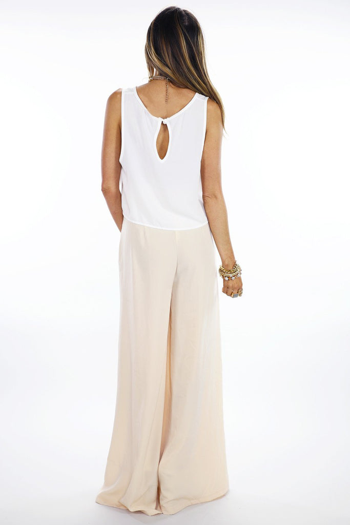 BASIC CHIFFON CROPPED TOP - White