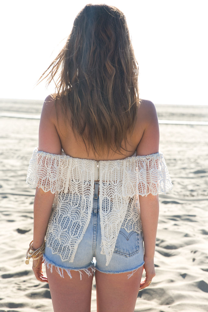 Off The Shoulder Crochet Top - White