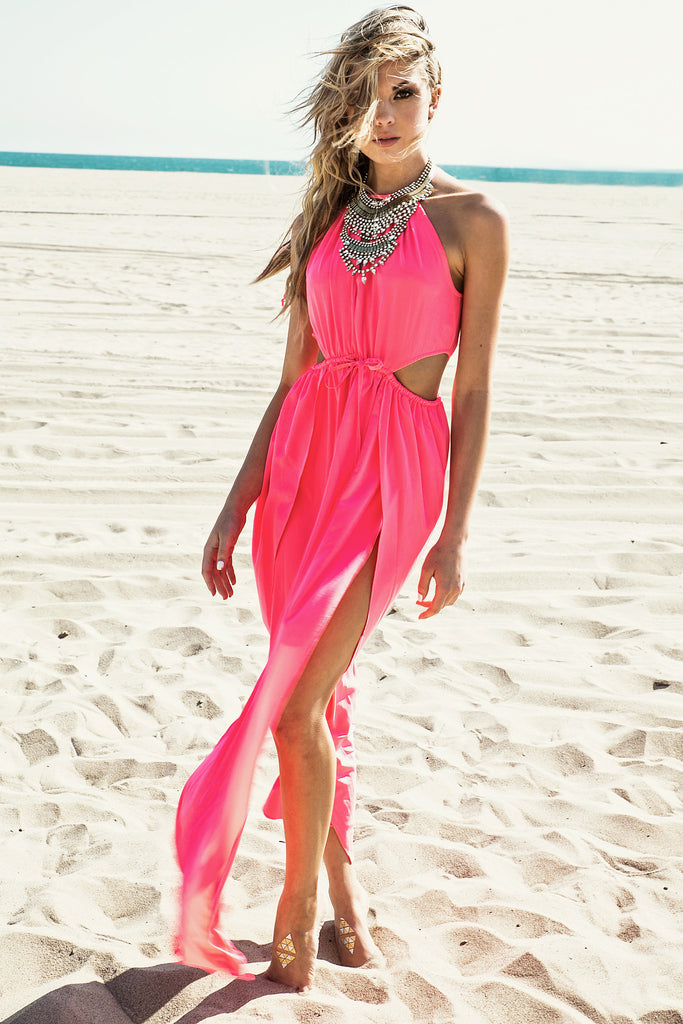 Nuri High-Slit Maxi Dress - Pink
