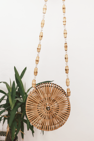 Small Circular Bamboo Bag