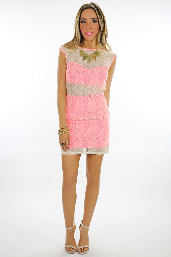 NEON LACE CONTRAST BODYCON DRESS