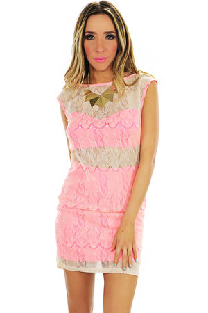 NEON LACE CONTRAST BODYCON DRESS - Haute & Rebellious