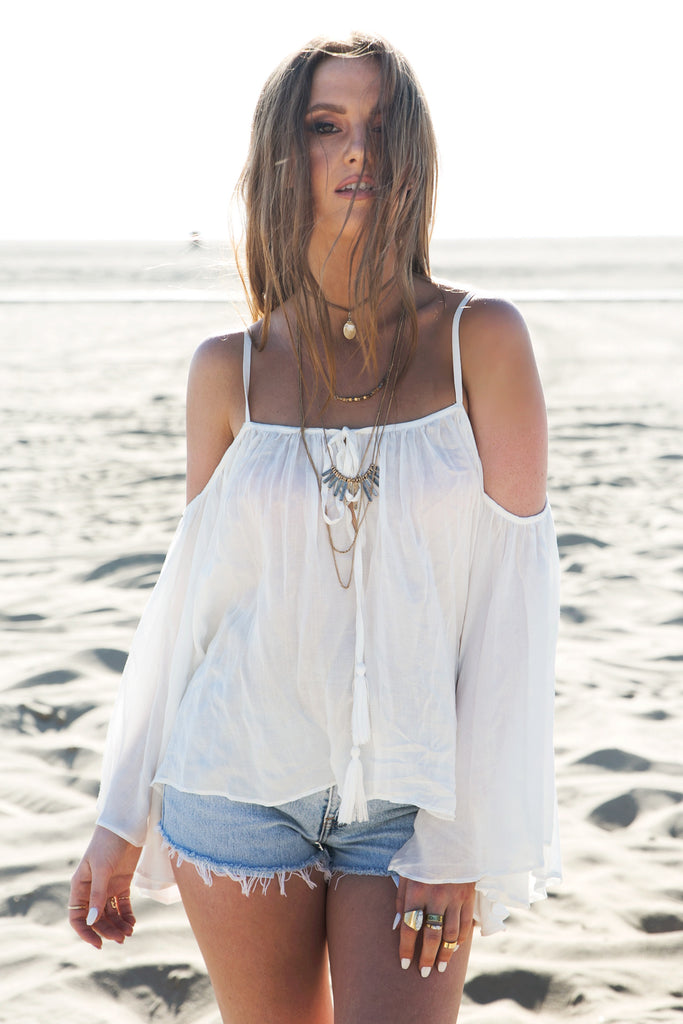Tania Bell Sleeve Linen Top - White
