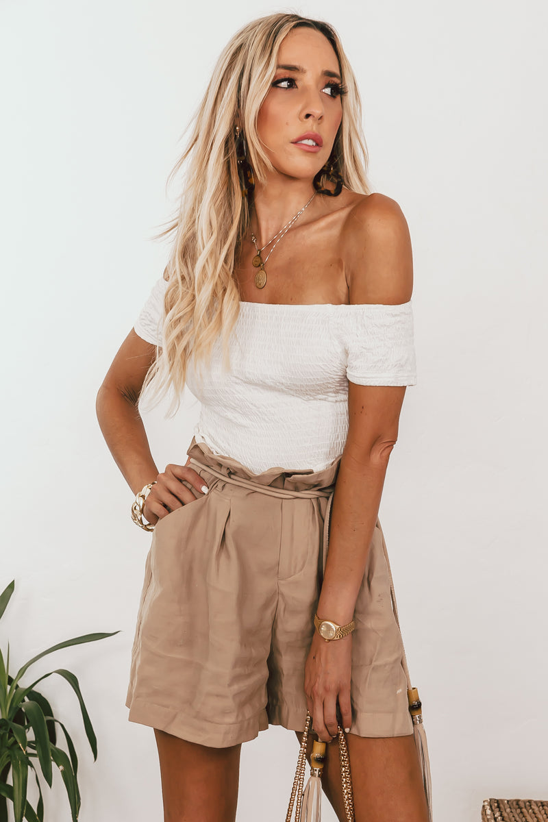 Off-Shoulder Smocked Top - White /// Only 1-L Left ///