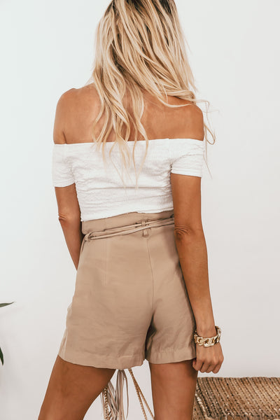 Off-Shoulder Smocked Top - White